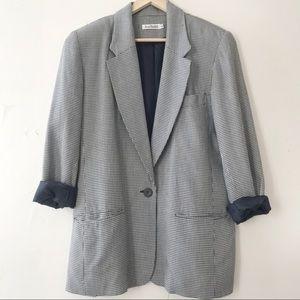 Vintage Ann Taylor Houndstooth Blazer Jacket Large
